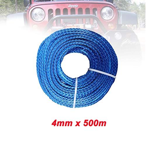 lifebea Eslinga 4mm x 500m sintéticos Torno de Cable/Cuerda Cuerda de Remolque...