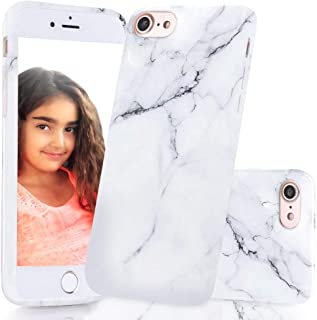 Apple iPhone 7 case, Apple iPhone 8 case, iPhone 7 marble case, iPhone 8 marble case, Hard thick granite, marbled thin accessories cover protector for women, men, girls (White Pattern marble)