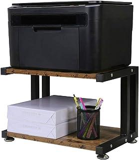 OROPY Soporte de Impresora de Madera con Marco de Metal Resistente, Organizador de Almacenamiento de Escritorio de 2 Niveles para Máquina de Fax, Escáner, Archivos, Suministros de Oficina