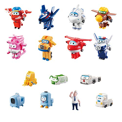 Super Wings - Juego de coleccionista con 15 Figuras de Juguete de Transform-a-Bots World Airport...