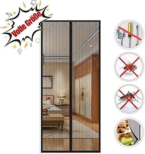 FENG Balkon fliegengitter 90x185cm, Tür Insektenschutz, Automatisch Verschließen, Luft kann frei strömen, Für Balkontür und Terrasentür - Schwarz