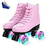 MEIMESH PU Leather Roller Skates for Women Outdoor and Indoor Adjustable Four-Wheel Double Row Roller Skates with Shoes Bag for Women Men Girls and Boys