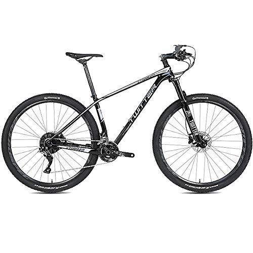 Mountain Bike Fuoristrada da 27,5 Pollici Mountain Bike in Fibra di Carbonio, con Forcella a 27 velocità/Doppio Freno a Disco, Bicicletta MTB Antiscivolo Leggera a Sospensione Completa,Black+Silver