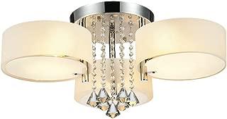 DINGGU Flush Mounted 3 Light Chrome Finish Modern Chandelier Ceiling Light Fixtures for Bedroom,Living Room,Dinng Room