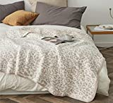 100% Polyester Microfiber Fluffy Leopard Knitted Throw Blanket Super Soft Cozy Lightweight Thick Blanket for Sofa Couch Bed 51'X71' Stone /Cream
