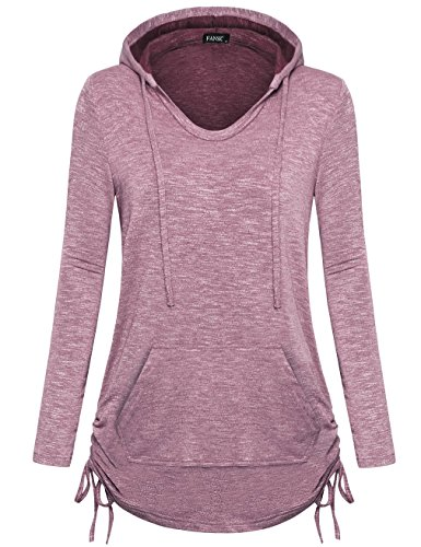 FANSIC Long Sleeve Tunics for Women, Women's Casual Pullover Sweatshirt Hoodie Plus Size XX-Large Pink