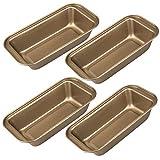 Hedume 4 Pack Bakeware, Medium Loaf Pan, Nonstick Carbon Steel Baking Bread Pan - 10 x 5.2 x 2.3 Inch