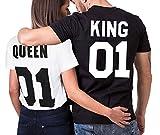 King Queen T-Shirt Impresión 01 2 Piezas de Manga Corta Rey Reina Regalo de San Jorge Camisa Casual para Amante (01king+01Queen, King M+Queen M)