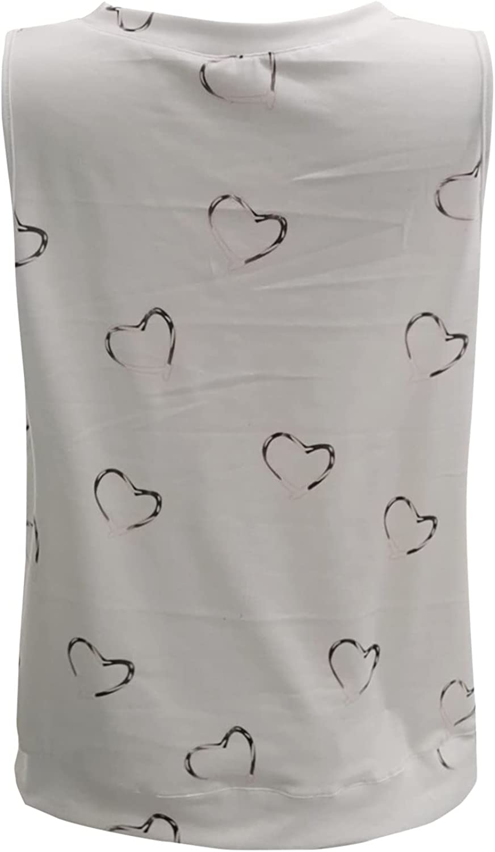 Summer Women Fashion O-Neck Sleeveless Vest Solid Color Printed Slim Shirt T-Shirt Casual Tank Tops