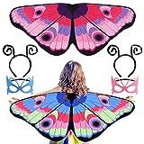 FEPITO 2 Tasche Kinderkleidung Anzug Schmetterlingsflügel, Schmetterlingsflügel Mantel Fee Kostüm...