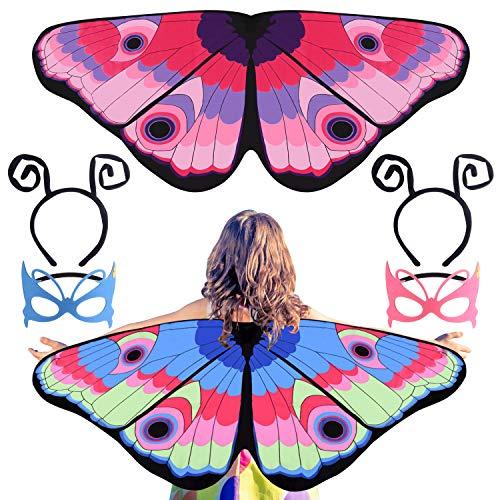 FEPITO 2 Tasche Kinderkleidung Anzug Schmetterlingsflügel, Schmetterlingsflügel Mantel Fee Kostüm Schmetterlingsflügel Umhang und Maske, Halloween-Kostüm-Partei Kinder Mädchen Pretend Schule Spielen