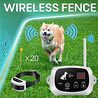FOCUSER Electric Wireless Dog Fence System, Pet Containment System for Dogs and Pets with Waterproof and Rechargeable Training Collar Receiver Boundary (with 20 Flags)