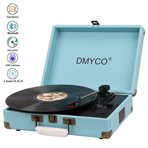 Record Player, 3-Speed Vintage Vinyl Turntable Suitcase with Bluetooth and Built in Speakers/ Vinyl-to-MP3 Record Player/ Support RCA Outpout/ Headphone Jack, Blue