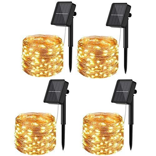 [4 Pack]Solar Fairy Lights Outdoor, 12m 120LED Solar String Lights Waterproof 8 Modes Copper Wire Decorative Solar Powered Garden Light for Tree Patio Tent Fence Summer Party Wedding Xmas (Warm White)