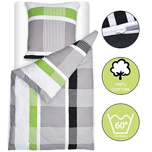 Beautissu Bettwäsche 135x200 cm Dana gestreift mit Reißverschluss 100% Baumwolle Bettbezug mit 80x80 Kissenbezug