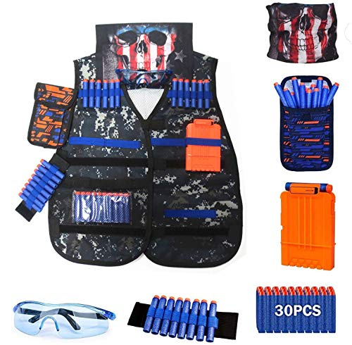 Kids Tactical Vest Kit for Nerf Guns Series Set with Refill Darts, Dart Pouch, Reload Clips, Tactical Mask, Wrist Band and Protective Glasses,Nerf Vest Toys for 4 5 6 7 8 9 10 11 12 Year Boys & Girls