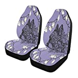 Qilmy 1 paquete de fundas de asiento delantero antideslizante para automóviles, asientos de cubo, para decoración universal, furgoneta, camioneta, SUV, flores de lobo púrpura