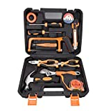 SOLUDE Home Repair Tools Set,12 Piece Small Tool Kit General Household Hand Tool Box with Handsaw Screwdrivers Pliers Sets,Plastic Toolbox Storage Case Included