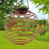 Unbekannt LED Solar-Spirallaterne 22cm Lampion Spirale Solarlampe Hängelaterne Gartendeko (rot)