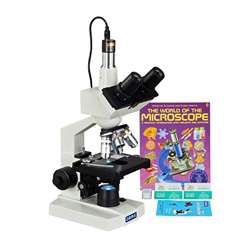 OMAX 40-2500X LED Digital Trinocular Lab Microscope + 5MP Camera + Blank Slides + Covers + Lens Paper + Book