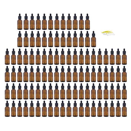 Oputec 50 ml Pipeta Botella con pipeta de cristal + etiquetas de etiquetado Botella de líquido para líquidos, E-Liquids Botella de vidrio marrón Frasco de farmacia con pipeta, 105 x 50ml, 1