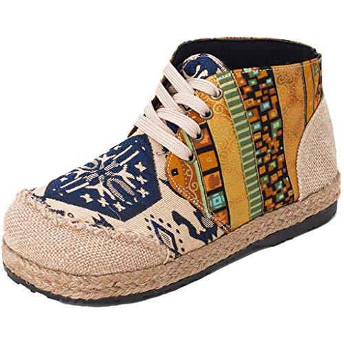 GHX Damenschuhe, bestickte Schuhe, Ethno-Look, Stiefeletten, Kleidung aus Baumwolle und Leinen für Damen,A,42