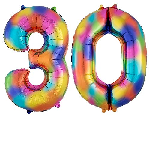 DIWULI, gigantische XXL Zahlen-Ballons, Zahl 30, Crazy Rainbow Luftballons, Zahlenluftballons Regenbogen, Folien-Luftballons Nummer Nr Jahre, Folien-Ballons für 30. Geburtstag, Party-Deko, Dekoration