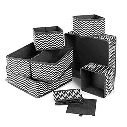 Cajón organizador de ropa interior, caja de almacenamiento plegable para armario, cómoda, cajones, organizador de tela para calcetines, sujetadores, ropa de bebé (gris, juego de 8)