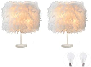 Paquete de 2 lámparas de mesa de plumas Lámpara de mesilla de noche Lámpara de mesilla de noche Base blanca con bombilla de 3 W para sala de estar, dormitorio, decoración del hogar, S