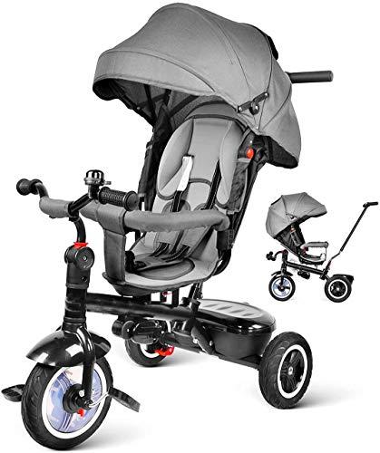 Triciclo para bebés, triciclo evolutivo de siete en uno de automóvil redondo, adecuado para bebé (1-6 años), mango y cubierta de lluvia, función de cochecito de bebé,Grey
