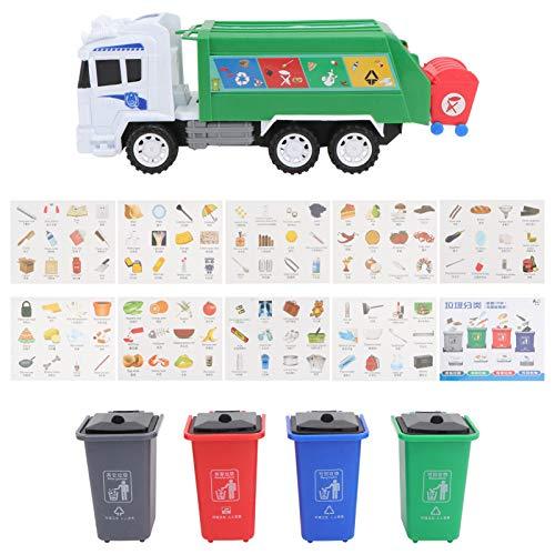 TOYANDONA 1 Juego de Camión de Basura de Juguete de Camión de Reciclaje Accionado por Fricción con Luces de Sonido para Aprender El Manejo de Desechos Camión de Reciclaje para Niños