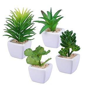 Silk Flower Arrangements Z.L.FFLZ Artificial Plants 4pcs Decorative Faux Succulent Artificial Succulent Fake False Simulation Plants with White Ceramic Pots Fake Plants Artificial Potted