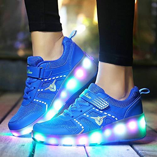 Mhwlai Kinder Einrad Sport Riemenscheibe Schuhe, männliche und weibliche Kinder Schlittschuhe für Erwachsene ultraleichte Radspitze Schalter LED-Licht Schuhe,B,38