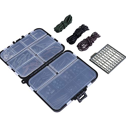Goture Assorted Carp Fishing Tackles Set With Box Hooks,Rubber Tubes, Swivels, Beads, Sleeves,Stoppers Accessories Joblot