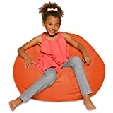 Posh Beanbags Big Comfy Bean Bag Posh Large Beanbag Chairs with Removable Cover for Kids, Teens and Adults Polyester Cloth Puff Sack Lounger Furniture for All Ages, 27in, Solid Orange
