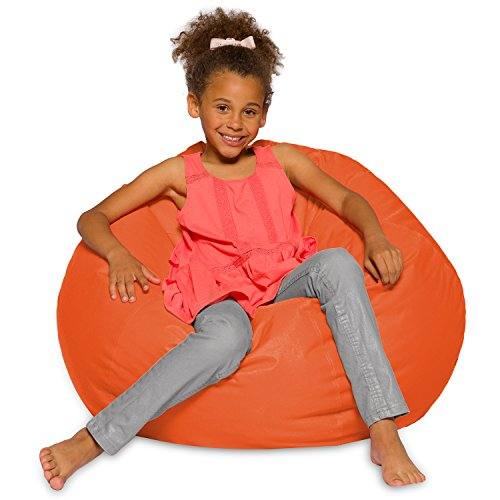 Posh Creations Big Comfy Bean Bag Posh Large Beanbag Chairs with Removable Cover for Kids, Teens and Adults Polyester Cloth Puff Sack Lounger Furniture for All Ages, Large-38in, Solid Orange