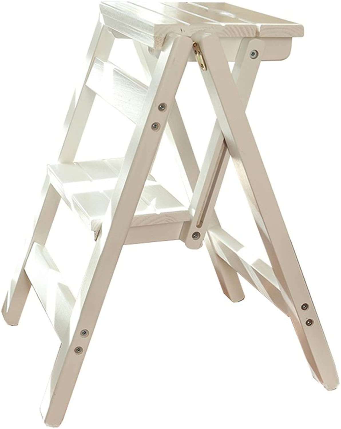 Folding Steps Innovative Creative Folding Fold Up Library Steps Multifunctional Wooden Ladder Stool Kitchen Office Use Ladder Chair with 2 Steps - White 150kg Capacity