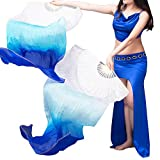 100% Real Silk Chinese Belly Dance Fan Veil Hand Made White Turquoise Blue 3 Sizes (1.5m)