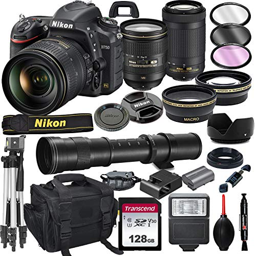 Nikon D750 DSLR Camera with 24-120mm VR and 70-300mm Lens Bundle with 420-800mm Preset f/8 Telephoto Lens + 128GB Card, Tripod, Flash, and More (23pc Bundle)
