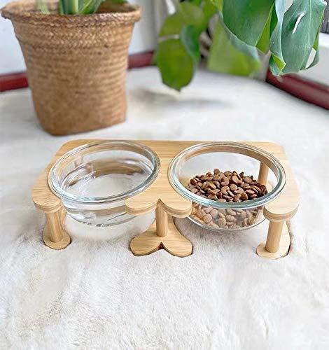 ペット食器 ボウル 皿 猫 犬 餌入れ 水入れ ガラス 木スタンド 食べやすい 負担軽減 丸洗い可能 手入れ簡単 食事台 (Sサイズ(ボウル二つ))