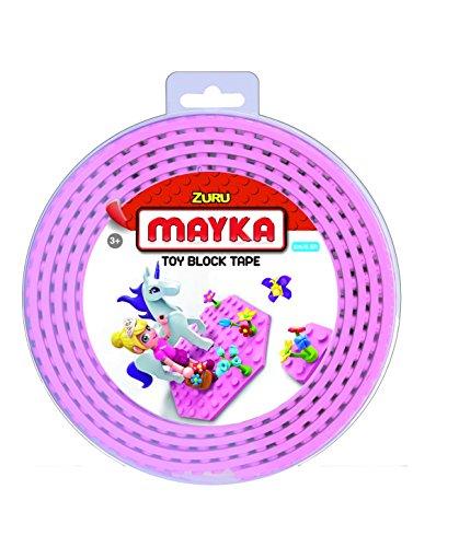 Mayka 34649 - Klebeband für Lego Bausteine, 2 m selbstklebendes Band mit 2 Noppen, rosa Bausteinband, flexibles Noppenband zum Bauen mit...