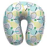 Hdadwy Raquette de tennis jaune vert bleu balle verte oreiller en forme de U standard oreiller confortable de soutien de la tête du cou avec coussin en mousse à mémoire de forme couverture lavable res