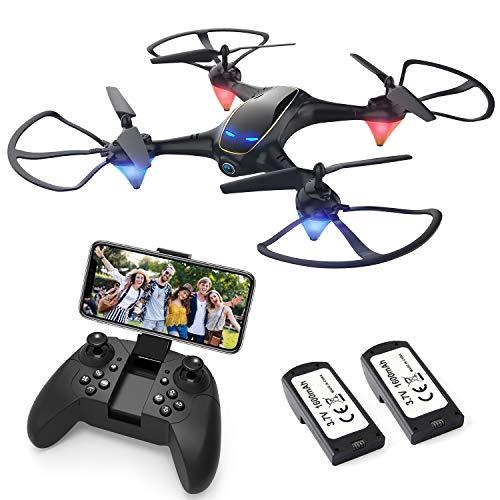 EACHINE E38 Drone avec caméra HD 720P WiFi App FPV【Vive la France!】 Aile Fixe Hauteur verrouillé et Retour avec Une Seule clé ( 2 Batteries Inclus )
