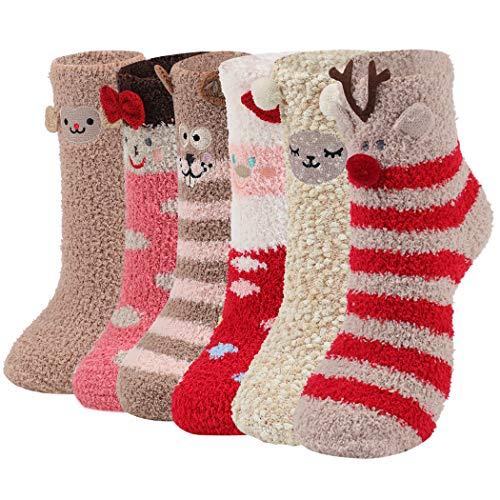 Aniwon 6 Paare Kuschelsocken Weihnachtssocken Damen Warme Plüschsocken Süße Bettsocken Damen Christmas Weihnachtsgeschenke für Männer und Frauen