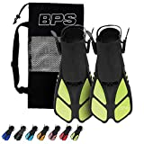 BPS Swim Fins - Open-toe and Open-heel Design - For Free Diving, Snorkeling, Scuba Diving - Adjustable Swim Flippers For Kids and Adults - Unisex - With Carrier Bag (Translucent Yellow Green - XXS/XS)
