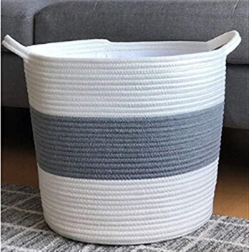 Cesto de Ropa Plegable, 1 UNID Cesta de almacenamiento grande Moda Cuerda de algodón tejido Cuerda de lavandería con asas dobles para ropa de pañal Almacenamiento de hogar ( Color : Multi-colored )