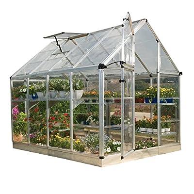 Palram HGK125 Snap & Grow Hobby Greenhouse w/Starter Kit, 6'x8'x7', Silver