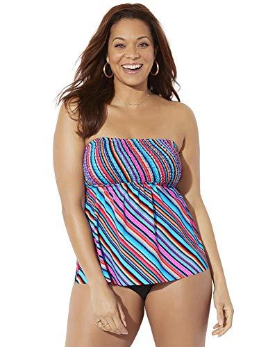 Swimsuits For All Women's Plus Size Smocked Bandeau Tankini Set 26 Multi Diagonal, Black