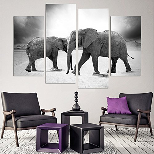 4 Piece Home Decor Oil Painting Two Elephants HD Print on Canvas Wall Art Picture for Living Room(No Frame)