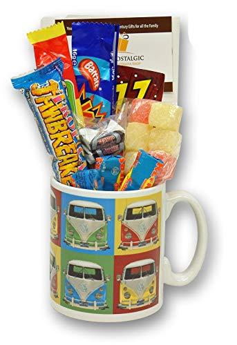 VW Camper Van Pop Art Mug filled with Retro Sweets
